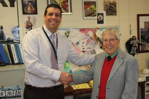 Morse's first principal, Mr. Buonfiglio, shares a moment with Mr. D. in preparation of the 50 anniversary of GDM.